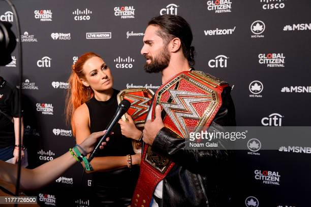 Becky Lynch and Seth Rollins attend the 2019 Global Citizen Festival Power The Movement in Central Park on September 28 2019 in New York City