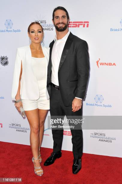 Becky Lynch and Seth Rollins attend the 5th annual Sports Humanitarian Awards presented by ESPN at The Novo Theater at LA Live on July 09 2019 in Los...