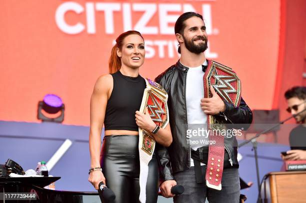 Becky Lynch and Seth Rollins speak onstage during the 2019 Global Citizen Festival Power The Movement in Central Park on September 28 2019 in New...