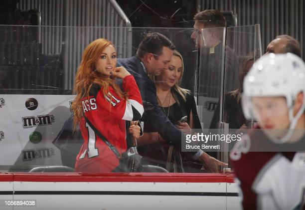 Becky Lynch of the WWE attends the game between the New Jersey Devils and the Colorado Avalanche at the Prudential Center on October 18 2018 in...