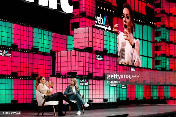 Becky Lynch with Emma Paton speak at Web Summit on November 07 2019 in Lisbon Portugal Web Summit is an annual technology conference which brings...
