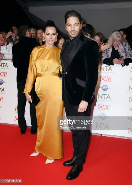 Becky Miesner and Mario Falcone attend the National Television Awards 2020 at The O2 Arena on January 28 2020 in London England