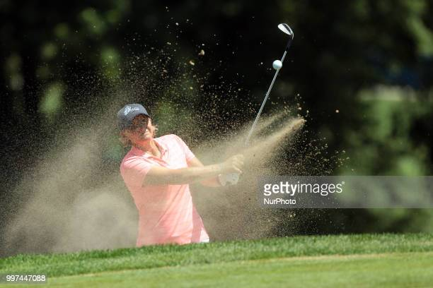 Becky Morgan of Wales hits out of the bunker toward the first green during the first round of the Marathon LPGA Classic golf tournament at Highland...