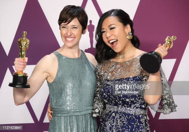 Becky NeimanCobb and Domee Sh winners of Best Short Film for 'Bao' pose in the press room at the 91st Annual Academy Awards at Hollywood and Highland...