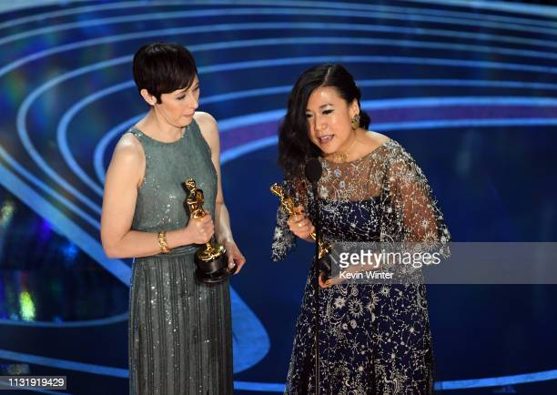 Becky NeimanCobb and Domee Shi accept the Short Film award for 'Bao' onstage during the 91st Annual Academy Awards at Dolby Theatre on February 24...