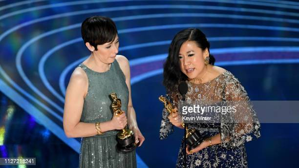 Becky NeimanCobb and Domee Shi accept the Short Film award for #39Bao#39 onstage during the 91st Annual Academy Awards at Dolby Theatre on February...