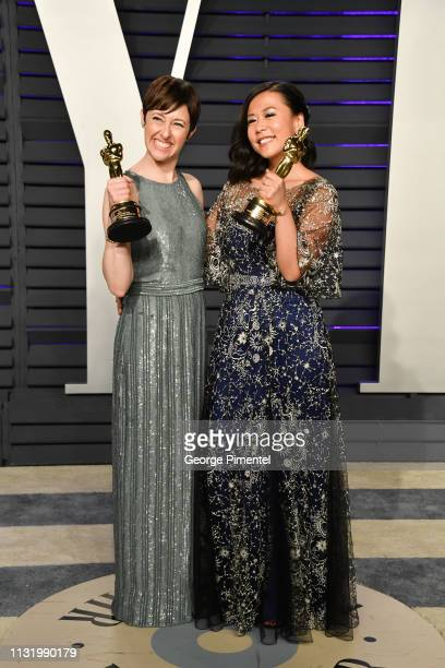 Becky NeimanCobb and Domee Shi attend the 2019 Vanity Fair Oscar Party hosted by Radhika Jones at Wallis Annenberg Center for the Performing Arts on...