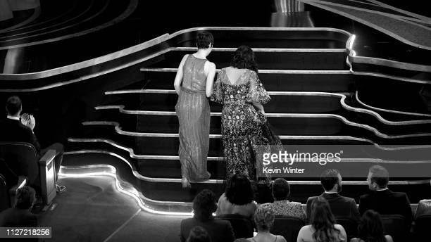 Becky NeimanCobb and Domee Shi walk to the stage to accept the Short Film award for #39Bao#39 during the 91st Annual Academy Awards at Dolby Theatre...