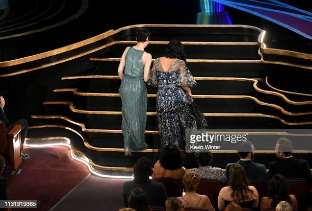 Becky NeimanCobb and Domee Shi walk to the stage to accept the Short Film award for 'Bao' during the 91st Annual Academy Awards at Dolby Theatre on...