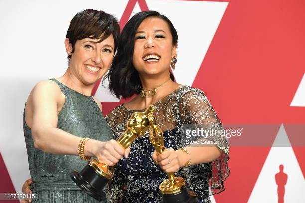 Becky NeimanCobb and Domee Shi winners Best Short Film award for 'Bao' pose in the press room during at Hollywood and Highland on February 24 2019 in...