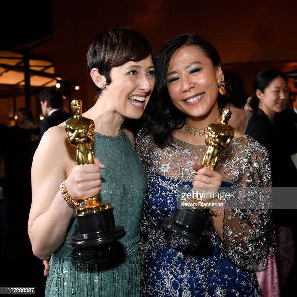 Becky NeimanCobb and Domee Shi winners of the Short Film award for 'Bao' attend the 91st Annual Academy Awards Governors Ball at Hollywood and...