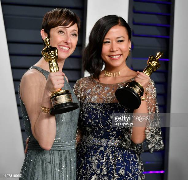 Becky NeimanCobb and Domee Shi winners of the Short Film award for 'Bao' attend the 2019 Vanity Fair Oscar Party hosted by Radhika Jones at Wallis...