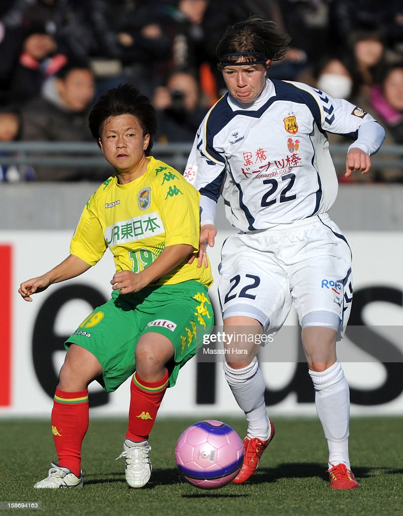 Becky #22 of INAC Kobe Leonessa (R) and Nodoka Hosaka #19 of JEF United Chiba compete for the ball during the 34th Empress's Cup All Japan Women's Football Tournament final match between INAC Kobe Leonessa and JEF United Chiba Ladies at Nack 5 Stadium Omiya on December 24, 2012 in Saitama, Japan.