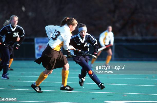 Becky Peterson of Rowan University and Amber Fulginiti of Messiah College battle for the ball during the Division III Women's Field Hockey...