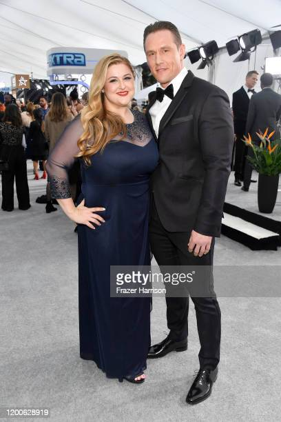 Becky Poliakoff and Andrey Ivchenko attends the 26th Annual Screen Actors Guild Awards at The Shrine Auditorium on January 19 2020 in Los Angeles...