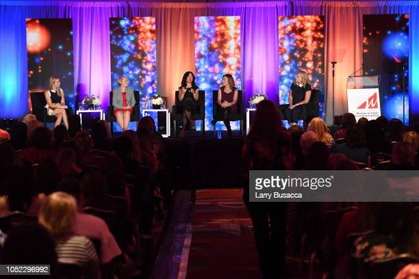 Becky Quick Dr Valerie Young Meeka Bondy Jane Latman and Friday Abernethy speak onstage during the WICT Leadership Conference at New York Marriott...