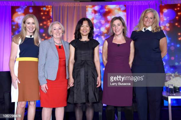Becky Quick Dr Valerie Young Meeka Bondy Jane Latman and Friday Abernethy pose for a photo onstage during the WICT Leadership Conference at New York...