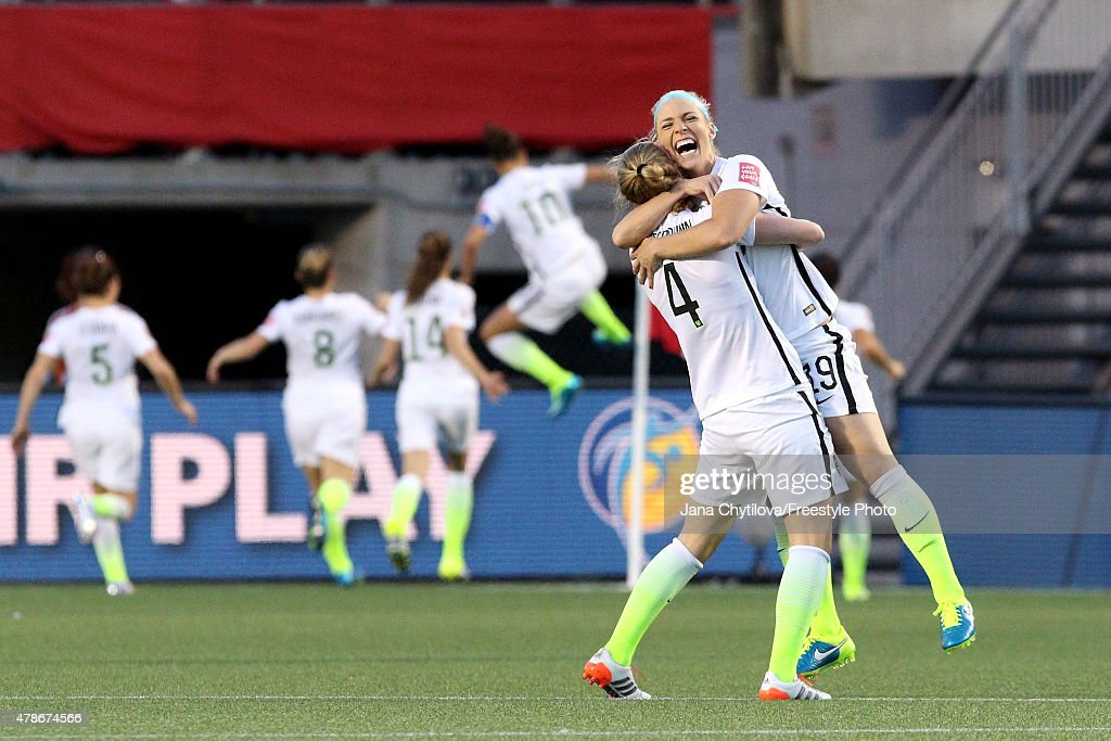 Becky Sauerbrunn #4 and Julie Johnston #19 of the United States celebrate after a goal by Carli Lloyd #10 in the second half against China in the FIFA Women's World Cup 2015 Quarter Final match at Lansdowne Stadium on June 26, 2015 in Ottawa, Canada.