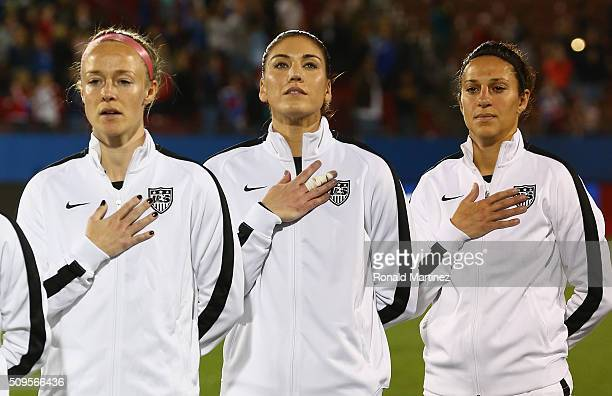 Becky Sauerbrunn Hope Solo and Carli Lloyd of USA before a match against Costa Rica during the 2016 CONCACAF Women's Olympic Qualifying at Toyota...