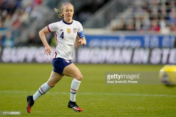 Becky Sauerbrunn of the United States chases down a loose ball during a game between Spain and USWNT at Red Bull Arena on March 08, 2020 in Harrison,...