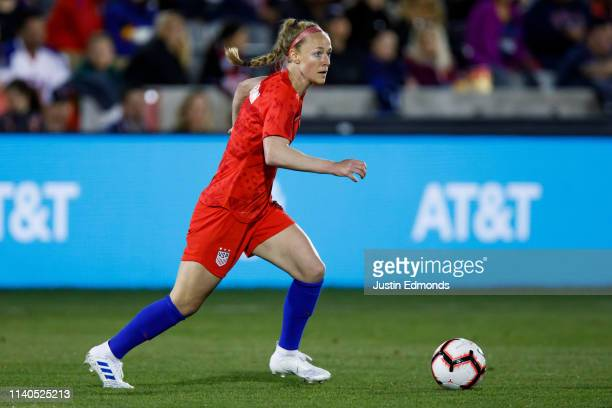 Becky Sauerbrunn of the United States in action during an international friendly against Australia at Dick's Sporting Goods Park on April 4 2019 in...