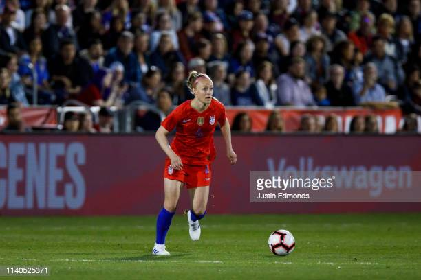 Becky Sauerbrunn of the United States in action during an international friendly against Australia at Dick's Sporting Goods Park on April 4, 2019 in...