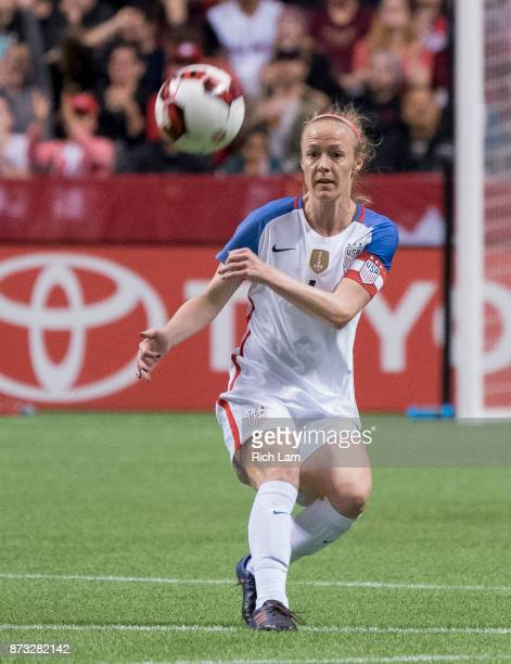 Becky Sauerbrunn of the United States kicks the ball during an International Friendly soccer match against Canada at BC Place on November 9, 2017 in...