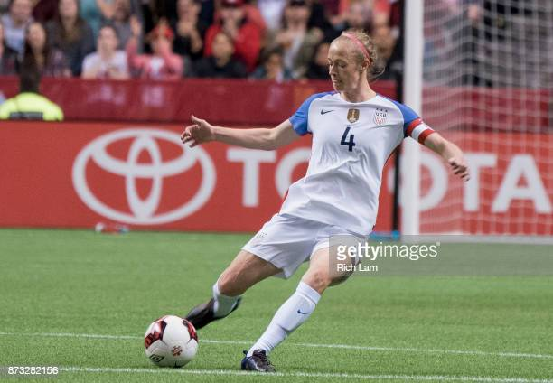 Becky Sauerbrunn of the United States kicks the ball during an International Friendly soccer match against Canada at BC Place on November 9 2017 in...