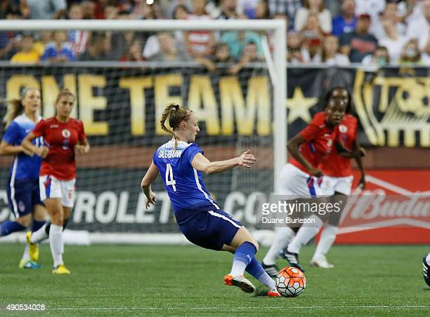Becky Sauerbrunn of the United States kicks the ball towards the goal during the first half of the US Women's 2015 World Cup victory tour match...