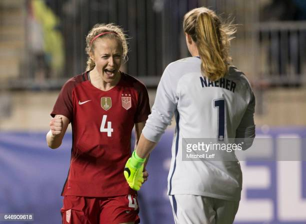 Becky Sauerbrunn of the United States of America celebrates with Alyssa Naeher after the game against Germany during the SheBelieves Cup at Talen...