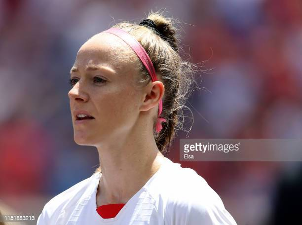 Becky Sauerbrunn of the United States stands for the national anthem before the match against Mexico at Red Bull Arena on May 26, 2019 in Harrison,...