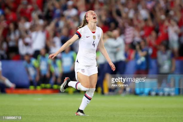 Becky Sauerbrunn of the USA celebrates following the 2019 FIFA Women's World Cup France Quarter Final match between France and USA at Parc des...
