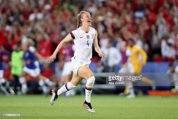 Becky Sauerbrunn of the USA celebrates victory after the 2019 FIFA Women's World Cup France Quarter Final match between France and USA at Parc des...