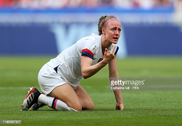 Becky Sauerbrunn of the USA reacts with an injury during the 2019 FIFA Women's World Cup France Final match between The United States of America and...