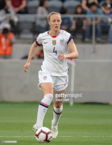 Becky Sauerbrunn of United States during the United States international friendly match against Belgium at Banc of California Stadium on April 7 2019...