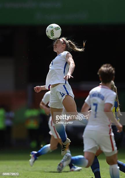 Becky Sauerbrunn of United States goes up for a headball against Sweden in the first half during the Women's Football Quarterfinal match at Mane...