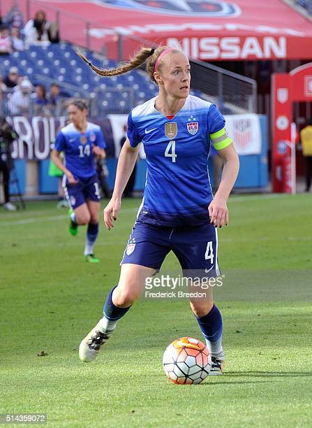 Becky Sauerbrunn of USA plays against France during an international friendly match in the SheBelieves Cup at Nissan Stadium on March 6 2016 in...