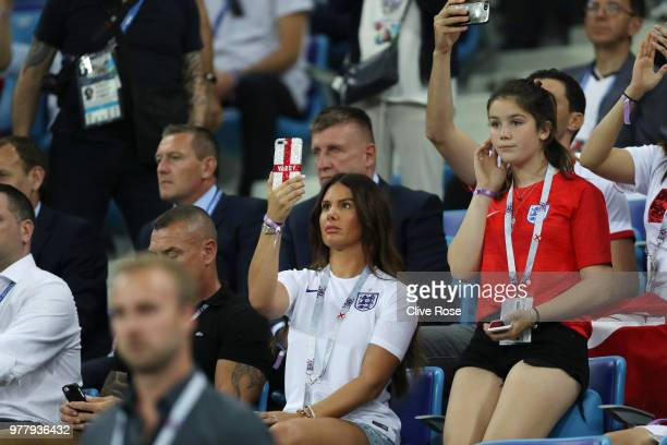 Becky Vardy wife of England's Jamie Vardy look on prior to the 2018 FIFA World Cup Russia group G match between Tunisia and England at Volgograd...
