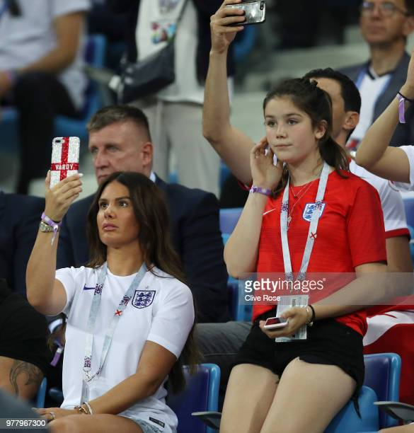 Becky Vardy wife of England's Jamie Vardy looks on prior to the 2018 FIFA World Cup Russia group G match between Tunisia and England at Volgograd...