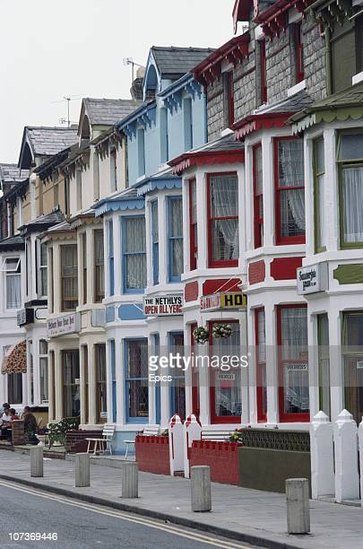 Bed and breakfast guesthouses displaying vacant signs in the seaside resort of Blackpool Lancashire August 1983