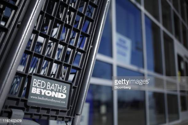 Bed Bath & Beyond Inc. Signage is displayed on a shopping cart outside a store in Clarksville, Indiana, U.S., on Sunday, Jan. 5, 2020. Bed Bath &...