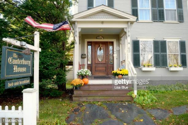 bed & breakfast in a street, vermont. - inn stock pictures, royalty-free photos & images