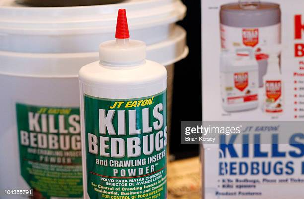 Bed bug insecticide products are displayed at the Bed Bug University North American Summit 2010 on September 22 2010 in Rosemont Illinois The twoday...