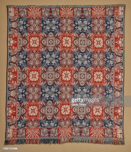 Bed cover , William Craig Sr. , James Craig , William Craig Jr. Cotton and wool, 90-1/2 x 79-1/2 in. 94 x 79-1/2 in. , Woven, lower and upper corner...