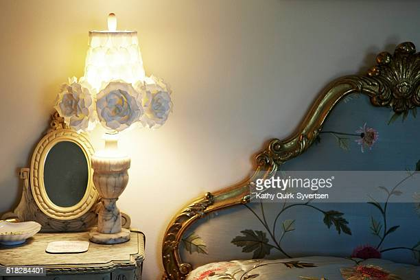 Bed room, illuminated night light and table