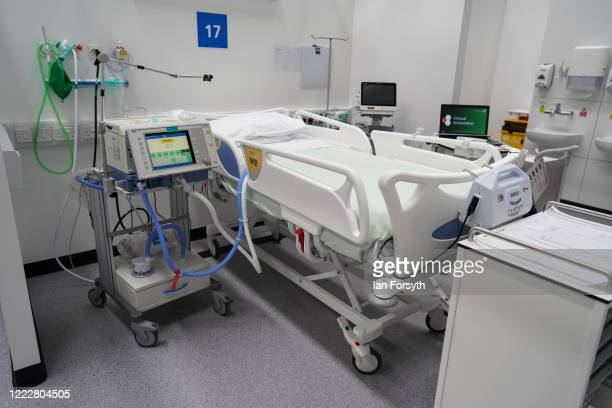 A bed surrounded by medical equipment and a ventilator are ready in ICU ward 1 at the new NHS Nightingale North East hospital opened in response to...