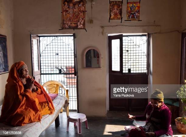 Bedagiri Mata a widow at 79 years old and Savitri Mata who estimates she is 70 years old at Pashupatinath Ashram in Varanasi India on January 06 2019...
