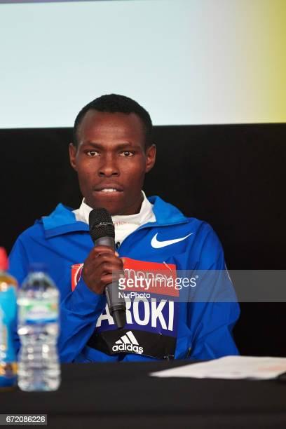 Bedan Karoki of Kenya during a press conference after winning the men's elite race at the London marathon on April 23 2017 in London