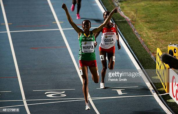 Bedatu Hirpa of Ethiopia celebrates winning the Girls 1500 Meters Final on day four of the IAAF World Youth Championships Cali 2015 on July 18 2015...