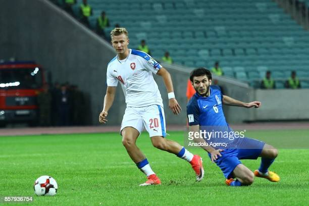 Bedavi Huseynov of Azerbaijan in action against Antonin Barak of Czech Republic during the 2018 FIFA World Cup European Qualification match between...